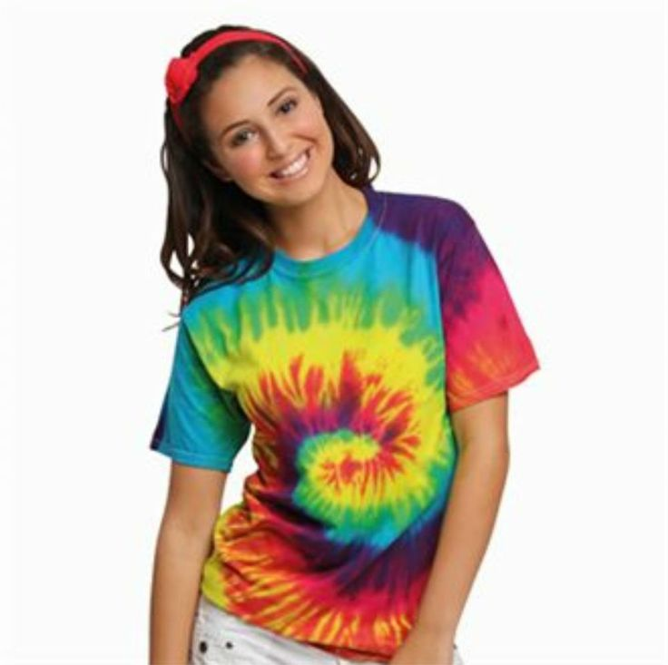 Rainbow tie-dye T- shirt Double-needle stitched neckline and sleeves Shoulder-to-shoulder taping Hand-dyed with superior colourfastness Quarter
