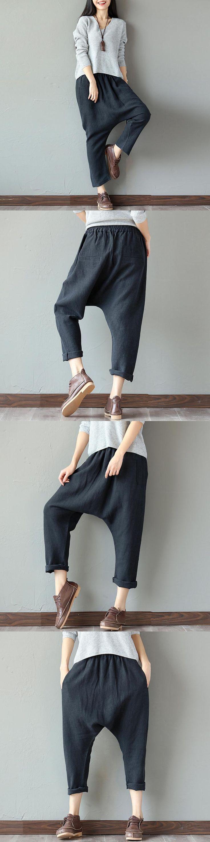New 2017 Spring Summer Women Harem Pants Female Art Style Loose Trousers Ladies' Causal Cotton Linen Black Pants Y88