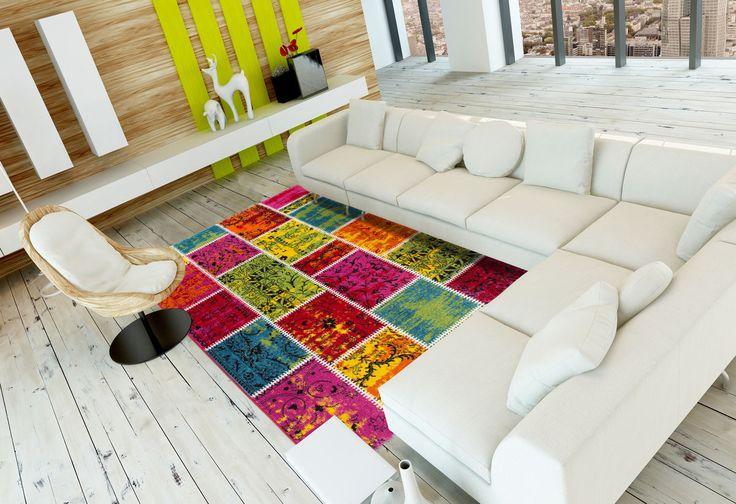 Nur Idee für Platzierung Sitzgruppe //Kurzflor Teppich mit sehr schönem Design pflegeleicht & robust IN393M | eBay