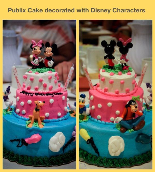 This is a Publix Bakery Cake that we had decorated and then added the Mickey Mouse Clubhouse Characters. We purchased the set from the Disney Store for $20. The total Cost for the final cake was $50! :)