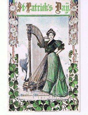 Set of 4 Antique Vintage circa 1909 1916 Postcards / Post Cards St. Patricks Day