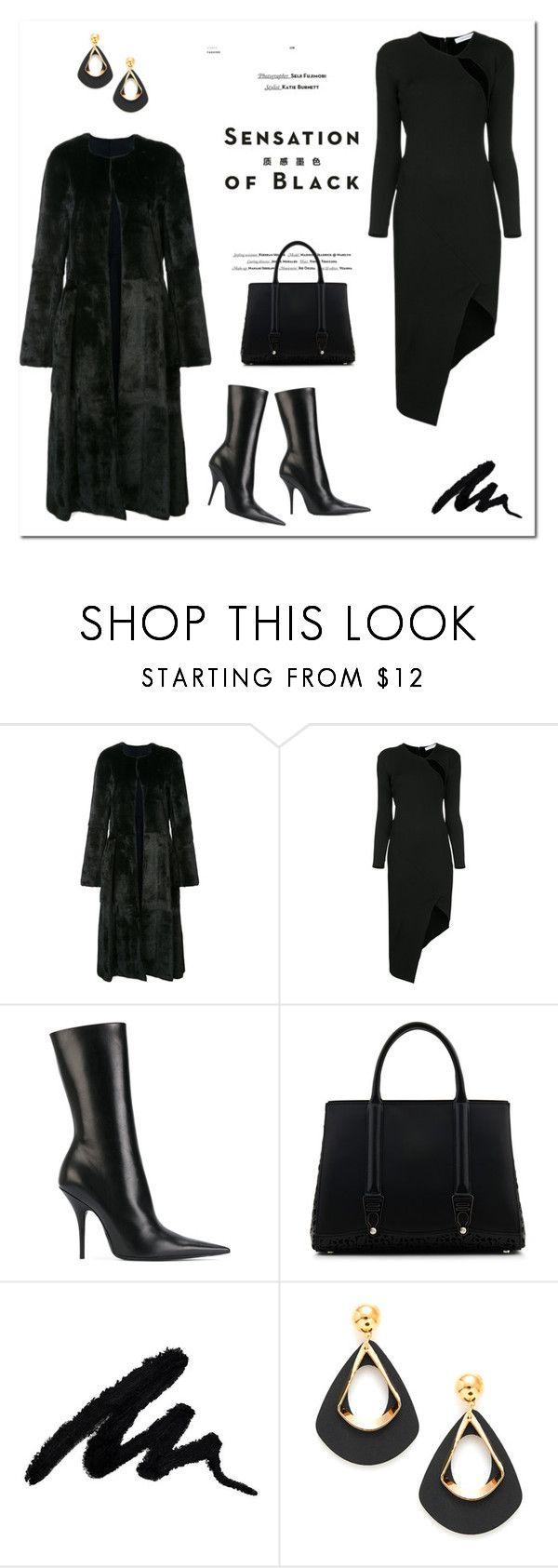 """Mission Monochrome: All-Black Outfit"" by bliznec ❤ liked on Polyvore featuring Oscar de la Renta, Christopher Esber, Balenciaga, Vision, La Perla, polyvoreeditorial, polyvorecontest and allblackoutfit"