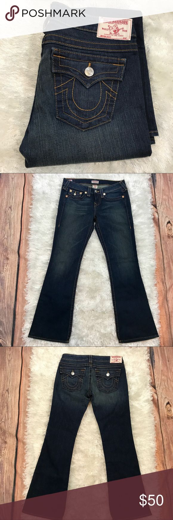 """True Religion Becky Petite Jeans EUC Like New True Religion Becky petite jeans EUC like new! Size 29. Inseam measures approximately 29"""". 94% Cotton, 5% Polyester, and 1% Spandex. Dark wash. Beautiful jeans! True Religion Jeans"""