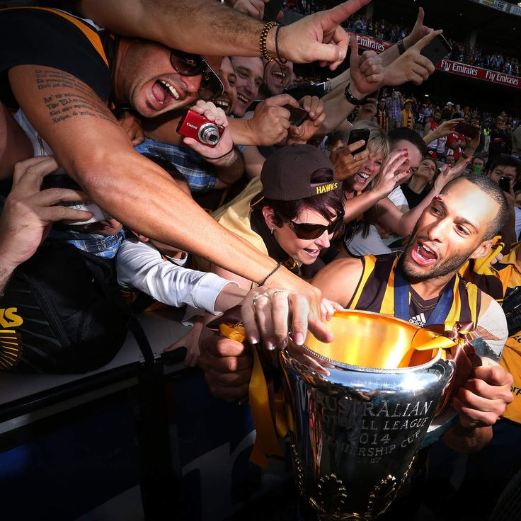 Josh Gibson of the Hawks celebrates their win with fans during the 2014 AFL Grand Final match between the Sydney Swans and the Hawthorn Hawks at Melbourne Cricket Ground on September 27, 2014 in Melbourne, Australia.