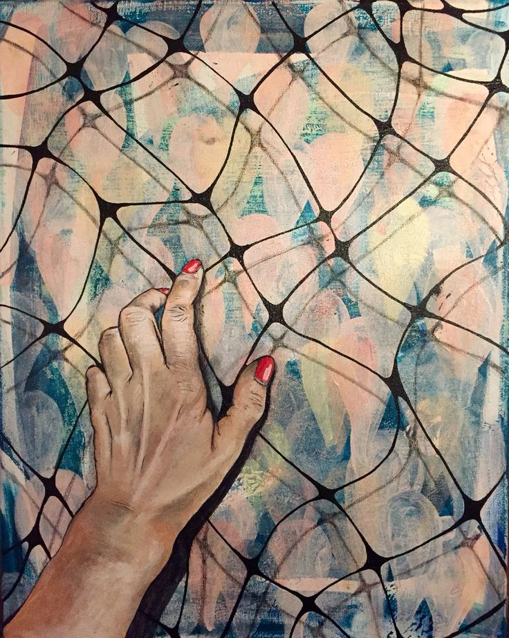 """""""Indside or outside"""" by Lisbeth Sahl, 40x50cm, acryl on canvas, www.lisbethsahl.dk"""