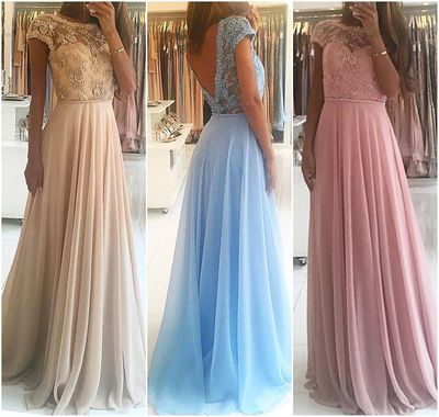 Lace Bodice Cap Sleeves Prom Dress,Chiffon Formal Dress,Fashion