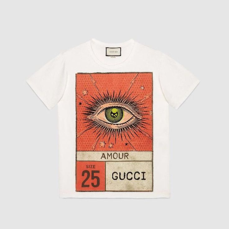 """Gucci Amour eye print t-shirt, with black and white colours, dm for information. . Taking design inspiration from vintage postcards, this print combines an eye, the word """"Amour,"""" the number 25 and """"Gucci"""" and was specially developed for Cruise 2018. . . #gucci #guccitshirt #guccimen #guccimane #tshirt #mensfashion #mensstyle #fashion #menfashion #menstyle #erkekgiyim #newseason #soho"""