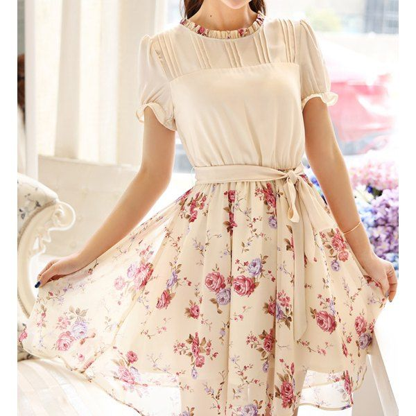 Wholesale Ladylike Style Round Neck Floral Print Short Sleeve Chiffon Dress For Women Only $10.41 Drop Shipping | TrendsGal.com