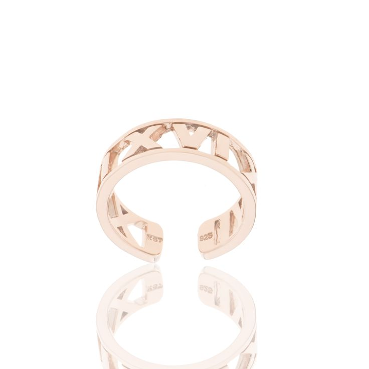 2016 Rose gold plated sterling silver ring. Dimensions:20 X 22 mm. Γούρι 2016 δακτυλίδι σε ασήμι 925 επιχρυσωμένο ροζ.  Διαστάσεις : 20 X 22 mm