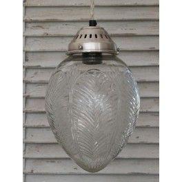 Chic Antique Loftlampe - Kuppel med Bladmønster - Glas