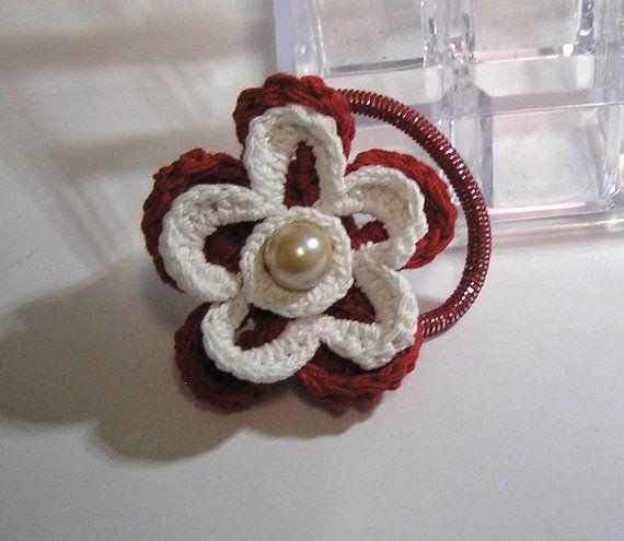 crochet red and white HANDMADE PONYTAIL HOLDER by rankaswedding