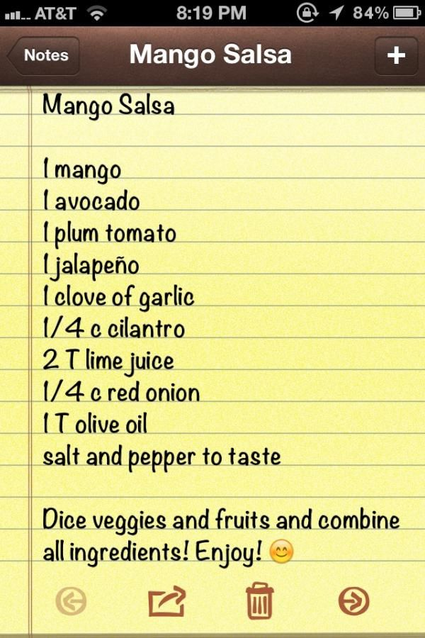 Mango Salsa (grilled fish topping)....omit the cilantro and jalapeno)