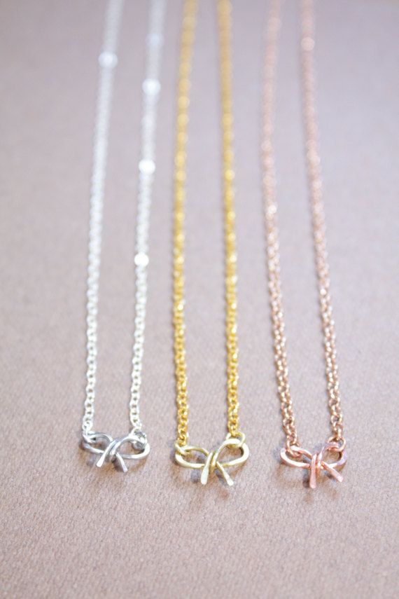 Handmade Bow Necklace Bow Charm Necklace Silver Gold or by DiAndDe
