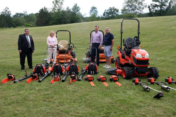 The Lackawanna County Commissioners inspect new outdoor equipment that will be used at all four County parks. A Kubota tractor, lawn cutting accessories, Scags backpack leaf blowers, weed whackers and chain saws were purchased and put into service in June through a $51,590 LSA grant from the Commonwealth.
