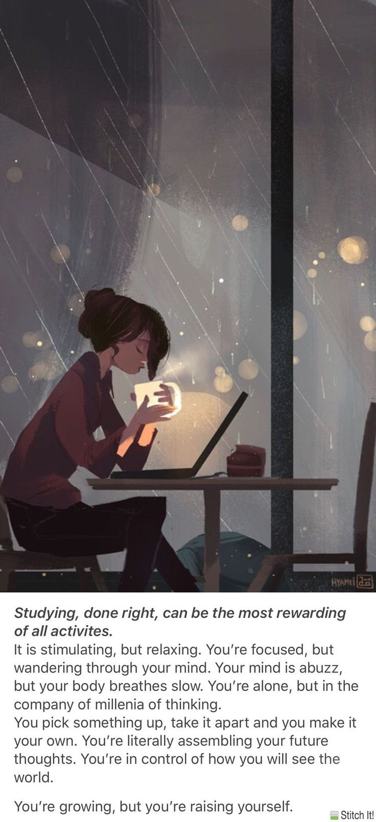 My favorite way to study, …at peace, with coffee, cozy inside with rain out a huge window.