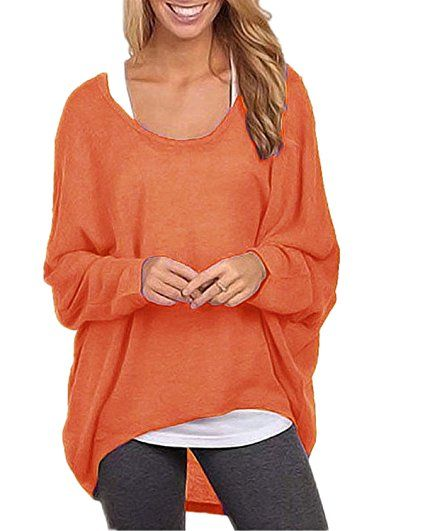 ZANZEA Women's Long Batwing Sleeve Loose Oversize Pullover Sweater Top Blouse Orange US 6/Tag Size S