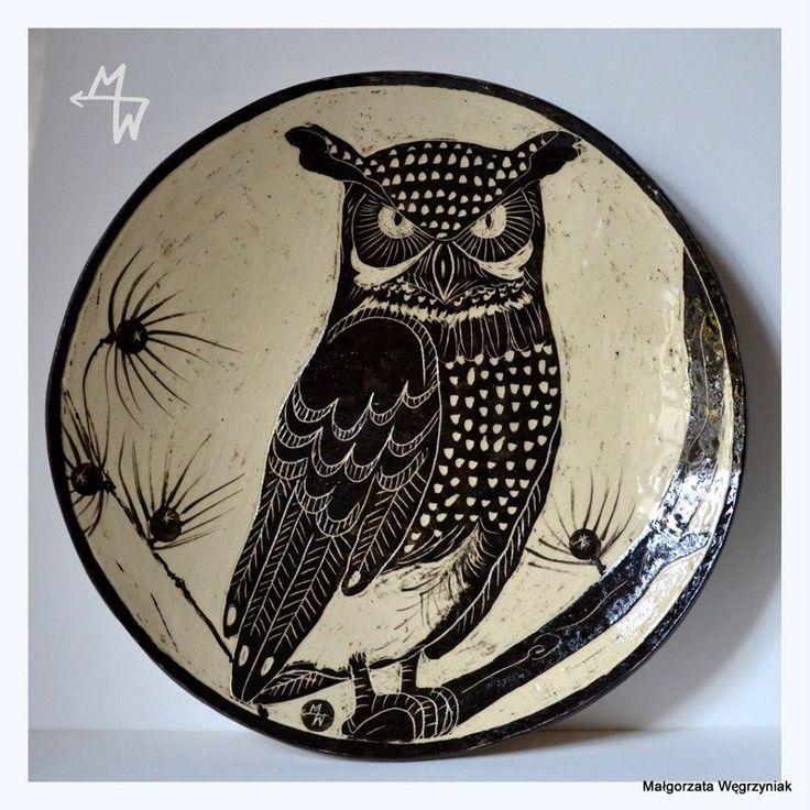 https://www.facebook.com/Malgorzata.E.Wegrzyniak #polandhandmade #mwceramics #ceramika #sgraffito #owl #plates #talerz