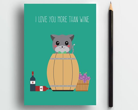 Funny love card, wine card, cat anniversary card, romantic card, cute animal card, cat lover card, cute cat card, sweet card, pets card