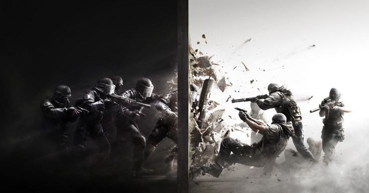 New Rainbow Six Siege poster  serious,simple colour,black and white, makes you think of guns and action.