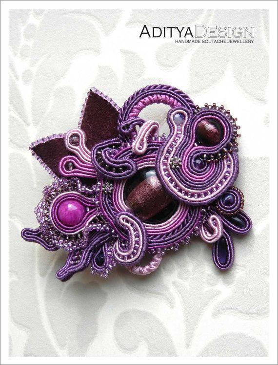 Soutache Brooch, Handmade Jewelry, Purple Pink, Soutache Jewelry, OOAK Brooch, ALEXTRASHA Model by AdityaDesign, $115.00