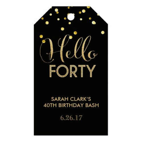 Hello Forty Gift Tags 40th Birthday