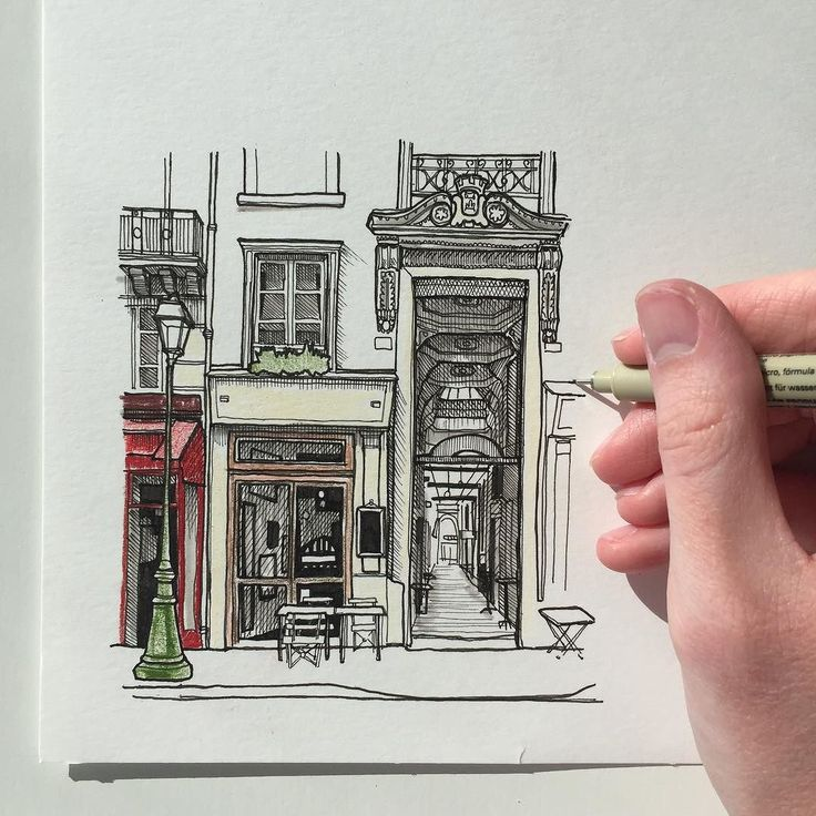 A quick drawing of the Passage du Grand Cerf in Paris #art #drawing #pen #sketch #illustration #linedrawing #architecture #paris #france #passagedugrandcerf