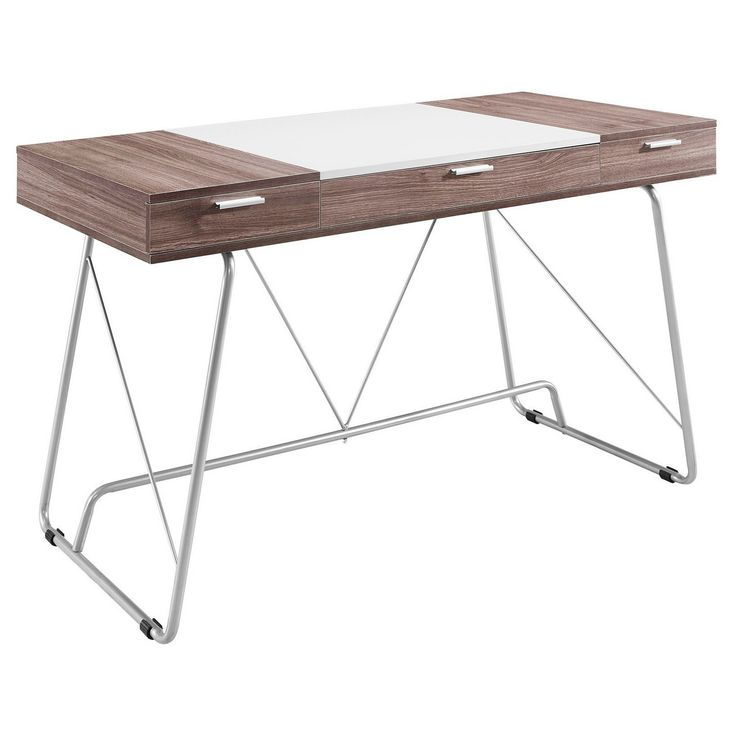 • Melamine-covered fiberboard with a two-tone finish<br>• Polished metal tube base<br>• 3 easy-glide storage drawers<br>• Modern metal drawer pulls<br>• Floor protectors<br><br>Inspired by Scandinavian design, Modway Furniture's Panel Office Desk has a sleek, modern style. This unique writing desk is made with high-quality materials to give you a sturdy place to work or study.