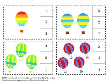 Hot Air Balloons Counting to 20, Count and Clip, Summer ...