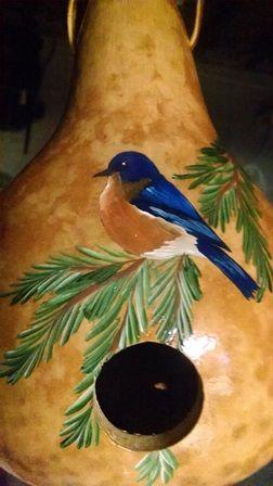 Blue Bird Gourd Birdhouse