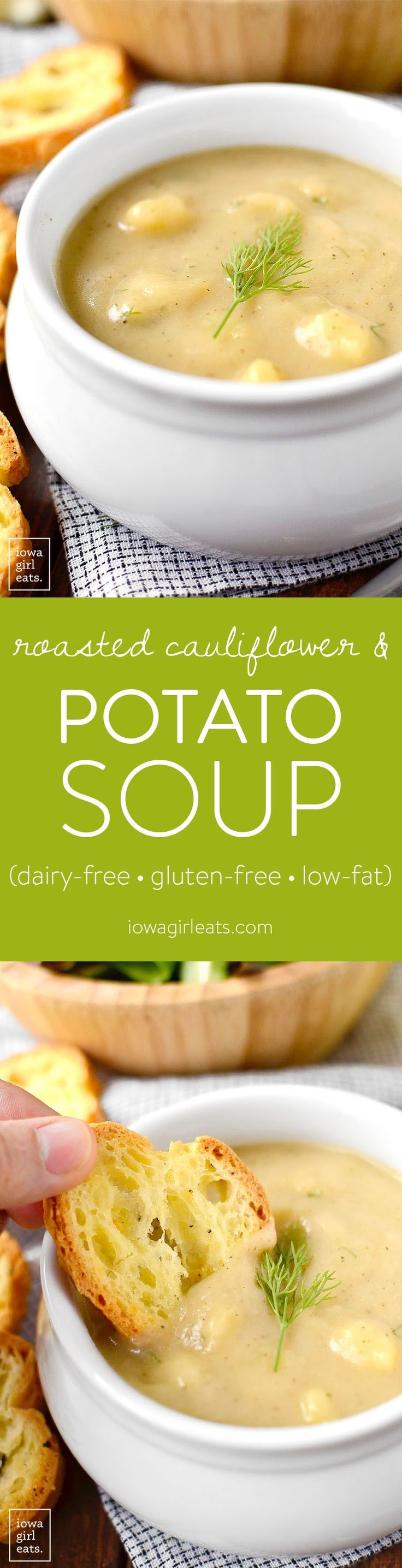 Roasted Cauliflower and Potato Soup is velvety smooth and decadent-tasting yet low-fat, gluten-free, and dairy-free!