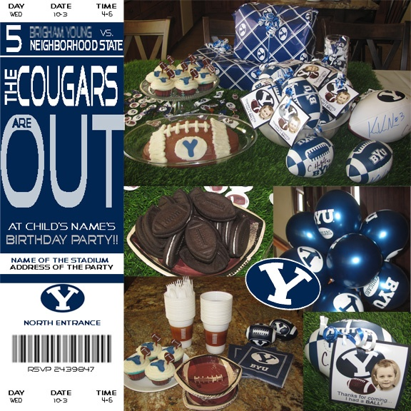 This BYU Football Birthday Party turned out awesome!  The invitation was made to look identical to the BYU football tickets and the party guests each received a small football signed by Kyle Van Noy and Cody Hoffman!
