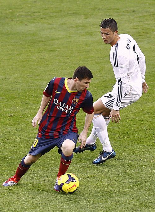 Messi and Ronaldo! ( ronaldo getting beat ) :)