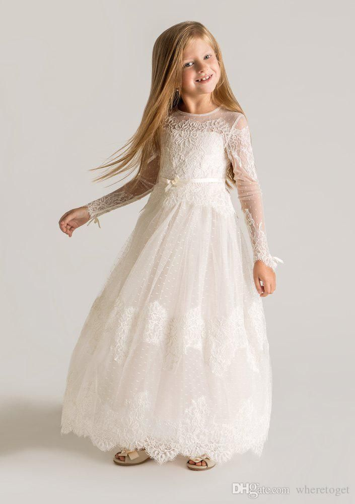 2015 Princess Sheer Tulle Flower Girls Dresses Long Sleeves Custom Made Lace Designer First Communion Dresses Appliques Latest Designer Little Girls White Dresses Off White Flower Girl Dresses From Wheretoget, $60.31| Dhgate.Com