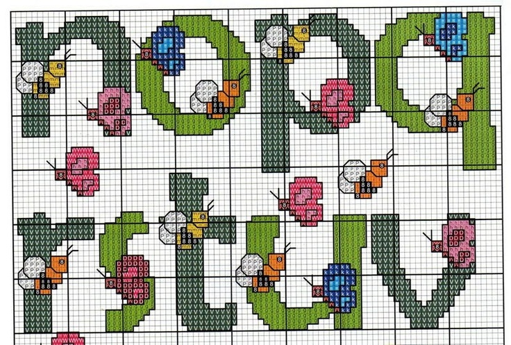 cross stitch alphabet PART 4