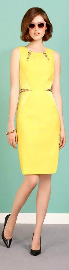 Paule Ka 2015 yellow dress women fashion outfit clothing style apparel @roressclothes closet ideas
