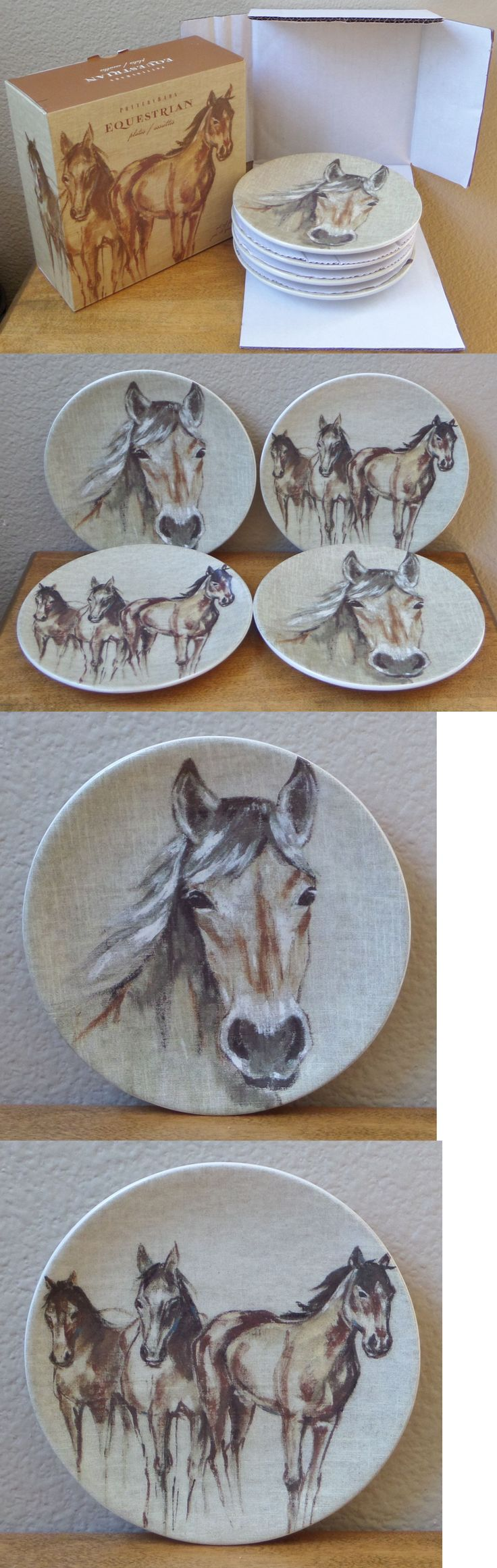 Plates 36030: Nib Set Of Four Pottery Barn Equestrian Horse Cocktail Appetizer Plates - 6 -> BUY IT NOW ONLY: $30.95 on eBay!