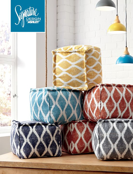 Colorful Accent Poufs! Yellow, Red, Gray, Blue And Navy   Ashley Furniture
