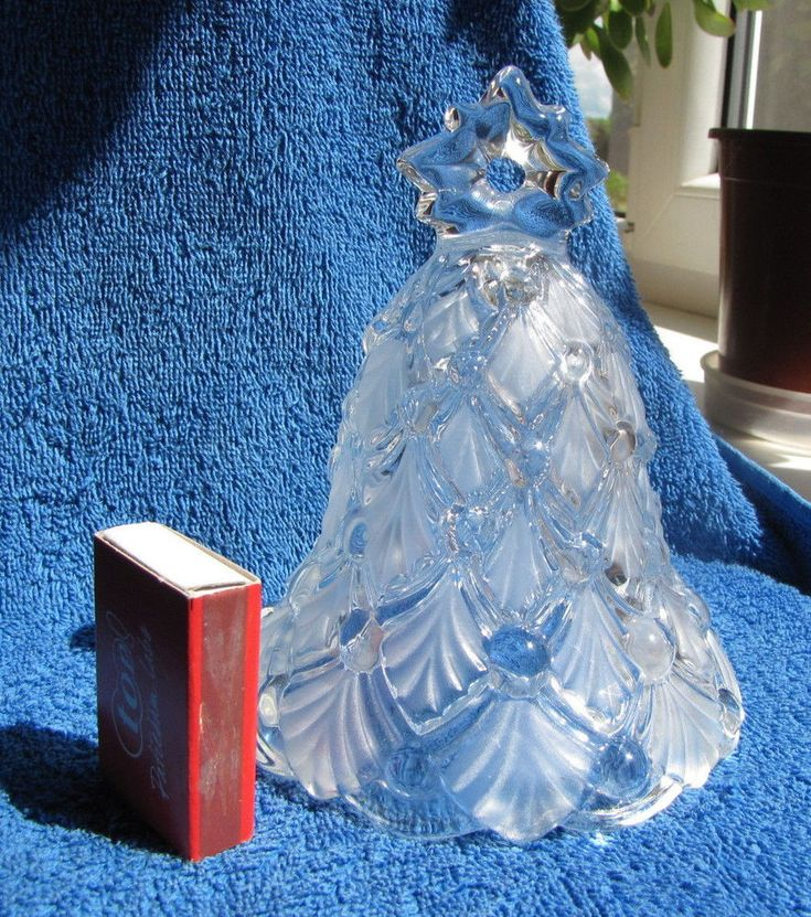 Vintage USSR Soviet Union frosted art glass Bell Christmas tree pattern 1970's