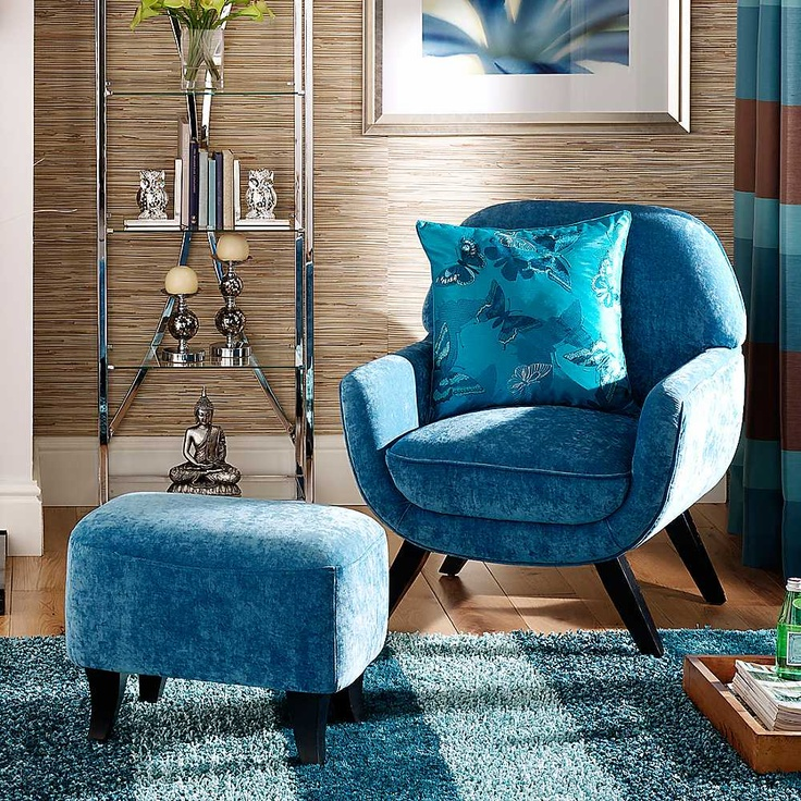 Milano Teal Chair & Footstool - Fabulous occasional chair and footstool for the bedroom or living room.   #Furniture #Chairs #Footstools #Spring13