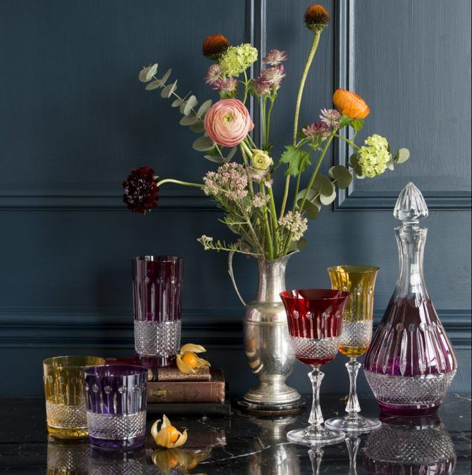 birds of paradise coloured crystal glassware