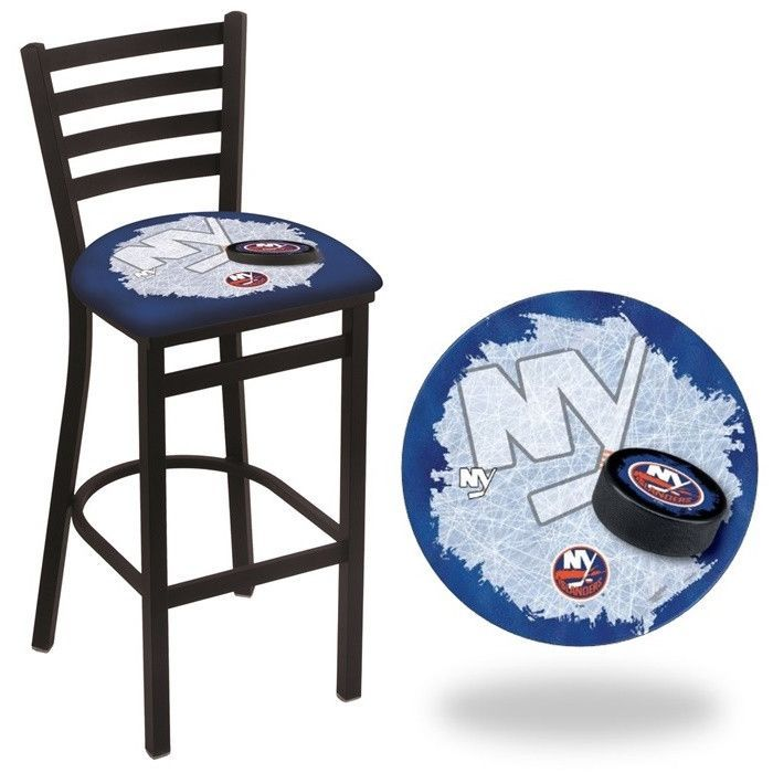 New York Islanders NHL D2 Stationary Ladder Back Bar Stool. Available in 25-inch and 30-inch seat heights. Visit SportsFansPlus.com for details.