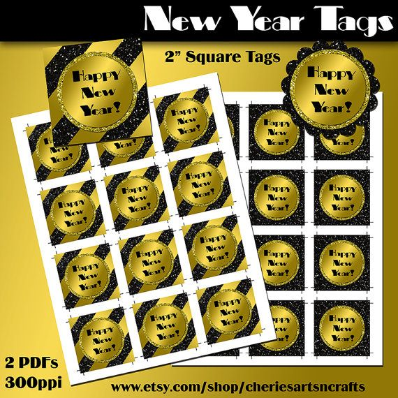 New Year's Party Tags 2 Inch Square Tags by CheriesArtsnCrafts. Print out your own party tags or take to your favorite printer, or use a scallop paper punch, gold satin and black glitter look tags! #happynewyear #partyprintables #newyeartags #labels #glittergraphics #partytags #partyrounds #partylabels