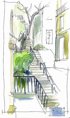 art journal, sketchbook, travel diary. Inspiration. Parisian steps | Flickr - Photo Sharing! -  John Harrison #urban #steps #stairs
