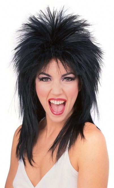 Super Star Rock Mullet Costume Wig - Rock out in this 100% Kanekolan mullet wig. Awesome with it's short spiky do on top, and longer in the back. Falls about to your shoulders. Perfect for Halloween, Monster truck rallies and much more. One size fits most. Comes in red, black and brown. #mullet #80s #rockstar #wig #yyc #costume
