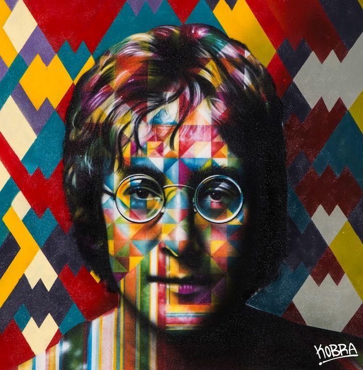 John Lennon. Show solo, intitulado Paz, em 2014, em Roma, Itália, na Galeria Dorothy Circus. Mural grafitado. Eduardo Kobra (S.Paulo, SP, Brasil, 1976 - ).   http://www.mymodernmet.com/profiles/blogs/eduardo-kobra-solo-show-peace