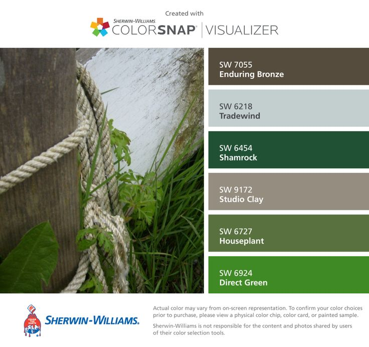 Colors   Combos   Palettes   Color Snap App   Sherwin-Williams   Enduring Bronze   Tradewind Blue   Shamrock Green   Studio Clay Gray   Houseplant Green   Direct Green