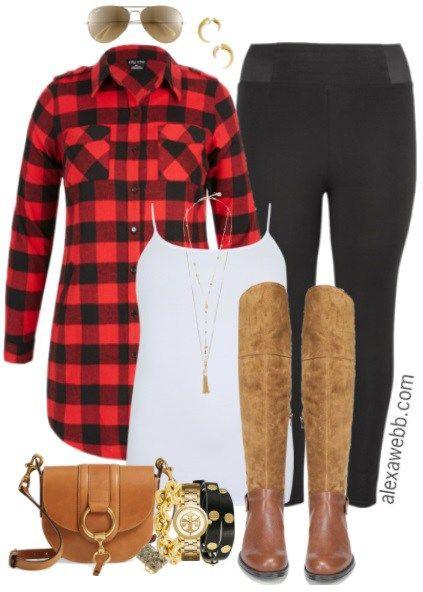 6a79e6080d847 Plus Size Buffalo Plaid Shirt Outfit - Plus Size Fall Outfit - Plus Size  Fashion for Women - alexawebb.com  alexawebb  plussizefashion  plussize