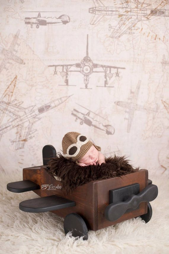 Deluxe Wooden Newborn Plane photography by TheIttyBittyPropShop