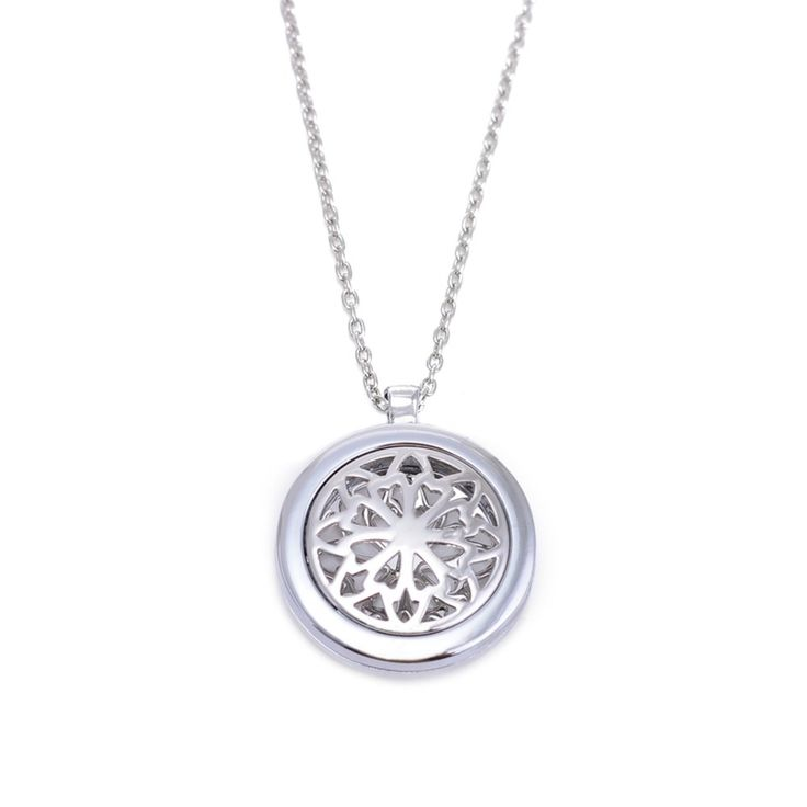 High Quality 10Pcs Rhodium Plated aroma Diffuser Round Aromatherapy Filigree Essential Oil Diffuser Necklace Pendant