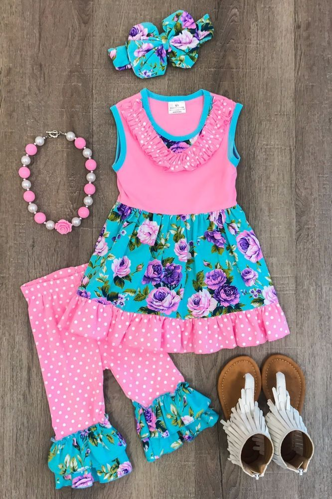 CLEARANCE SALE Pink Jade Boutique Floral Ruffle Capri Outfit set Spring Summer  #Unbranded #Outfit #SchoolChurchEasterPartyDressyEverydayHoliday